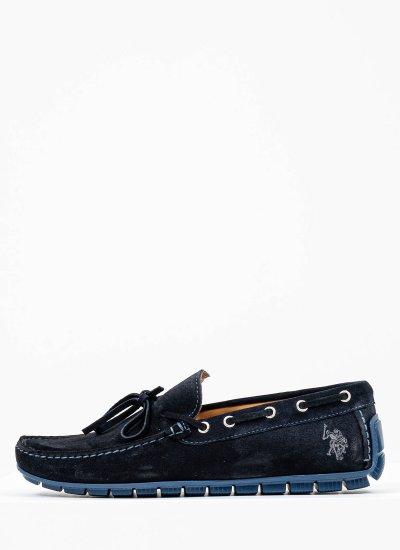 Men Moccasins Carson Blue Suede Leather U.S. Polo Assn.