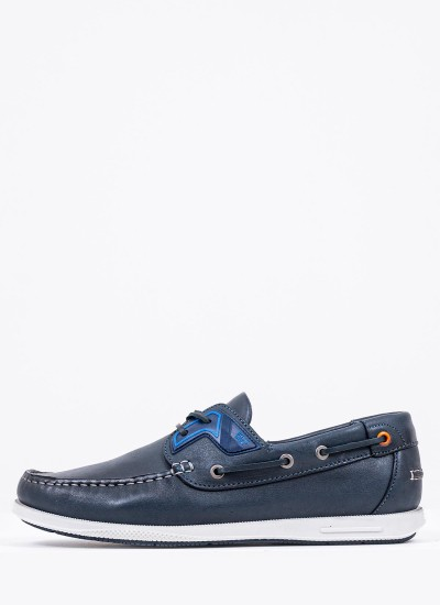 Men Sailing shoes Q09130 Blue Leather Boss shoes