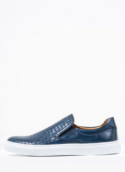 Men Moccasins Q5223 Blue Leather Boss shoes