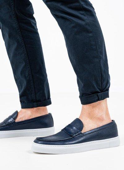 Men Moccasins Q5409.Rpt Blue Leather Boss shoes
