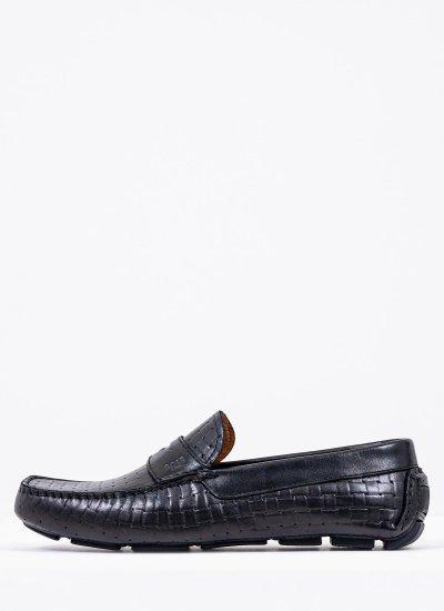 Men Moccasins Q5784 Black Leather Boss shoes