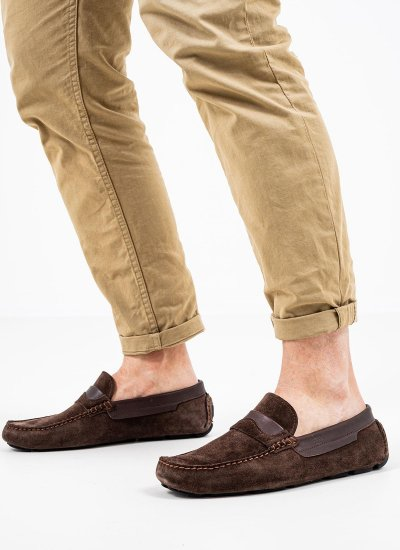 Men Moccasins Q5829 Brown Suede Leather Boss shoes