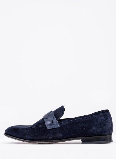 Men Moccasins Q6626 Blue Suede Leather Boss shoes