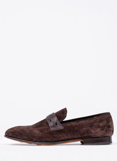 Men Moccasins Q6626 Brown Suede Leather Boss shoes