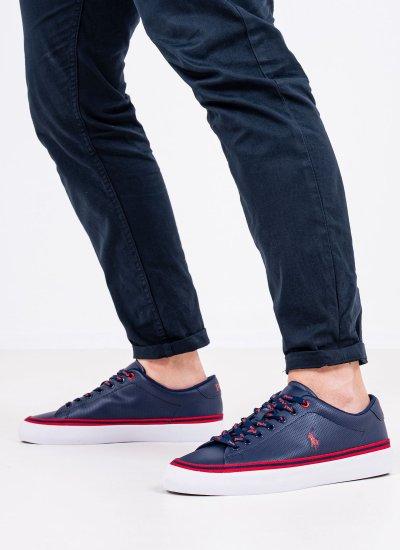 Men Casual Shoes Longwood.Vlc Blue Leather Ralph Lauren