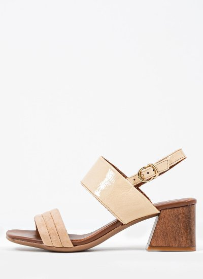 Women Sandals Low 4464 Beige Shiny Leather Alpe