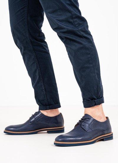 Men Shoes 1252 Blue Leather Damiani