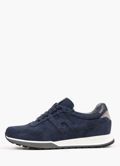 Men Casual Shoes 1703 Blue Nubuck Leather Damiani