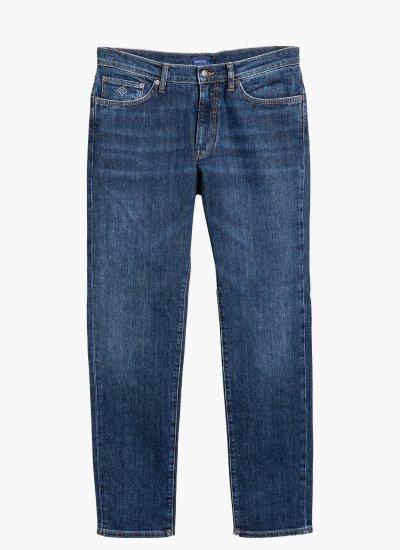 Men Pants Slim.Jeans Blue Cotton GANT