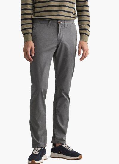 Men Pants Twill Grey Cotton GANT