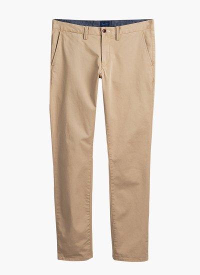 Men Pants Twill Beige Cotton GANT