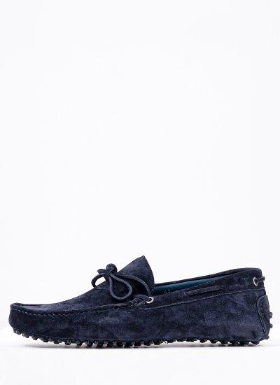 Men Moccasins K17 Blue Suede Leather Kricket