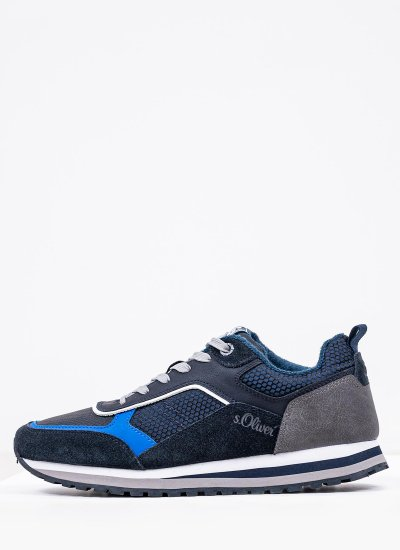 Men Casual Shoes 13614 Blue Suede Leather S.Oliver