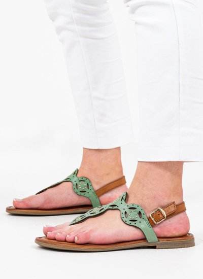 Women Flat Sandals 28112 Green Leather S.Oliver