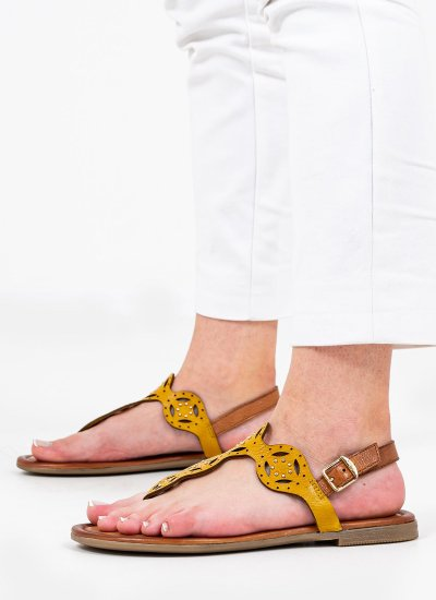 Women Flat Sandals 28112 Yellow Leather S.Oliver