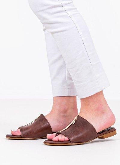 Women Flat Sandals 2 Brown Leather Komis and Komis