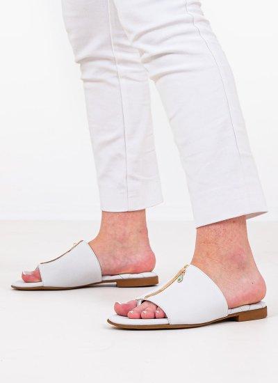 Women Flat Sandals 2 White Leather Komis and Komis