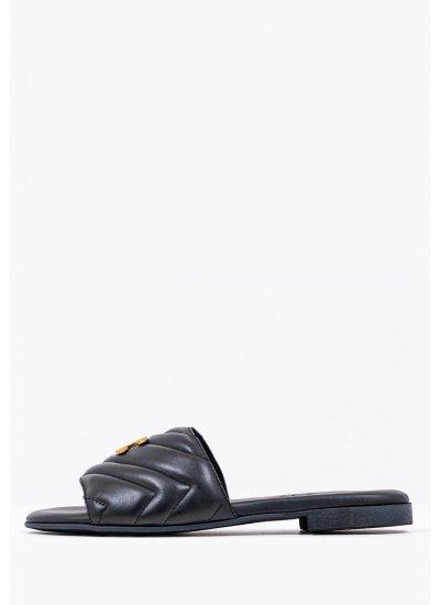 Women Flat Sandals 4 Black Leather Komis and Komis