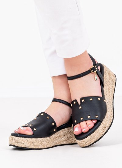 Women Platforms Low 71 Black Leather Komis and Komis