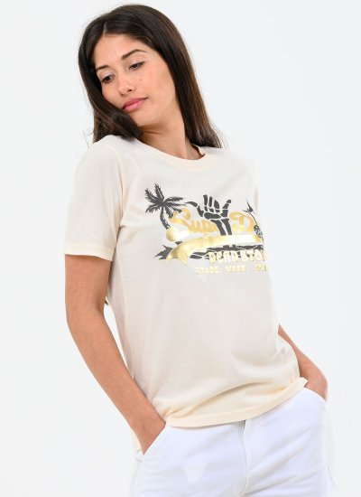 Women T-Shirts - Tops Itago Beige Cotton Superdry