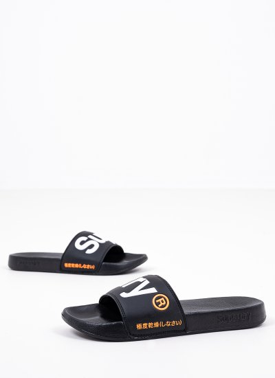Men Flip Flops & Sandals MF300004A Black Eco-Leather Superdry