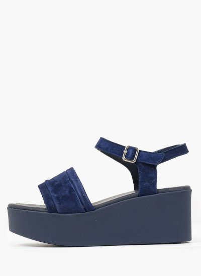 Women Platforms Low 8801 Blue Suede Leather Frau