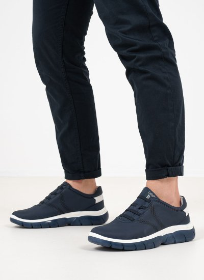 Men Casual Shoes 42700 Blue Leather Callaghan
