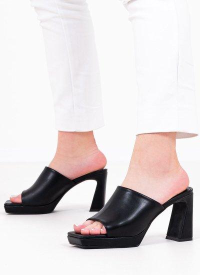 Women Mules Caviar Black Leather Jeffrey Campbell