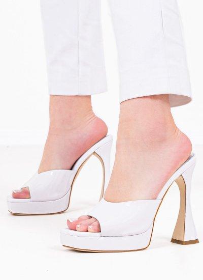 Women Mules Holywood White Shiny Leather Jeffrey Campbell