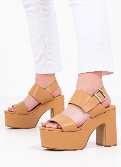 Women Sandal High Moody.Sat Beige Leather Jeffrey Campbell