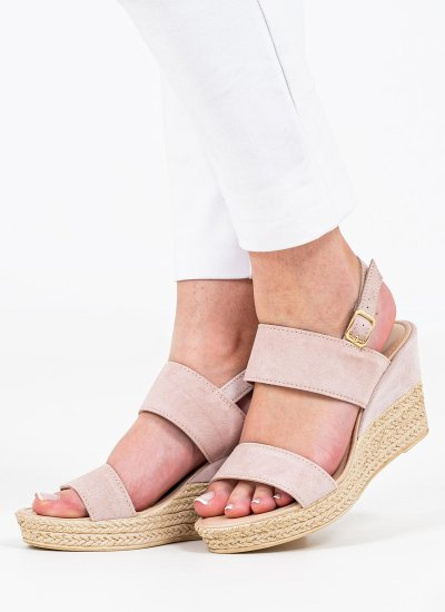 Women Platforms Low 28015 Nude Suede Leather Marco Tozzi