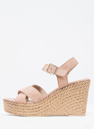 Women Platforms High 28019 Nude Suede Leather Marco Tozzi