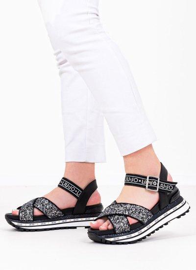 Women Platforms Low Maxi.Sandal Black Strass LIU JO