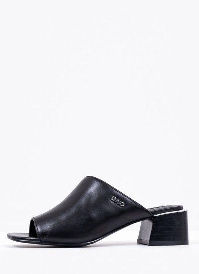 Women Mules Palma Black Leather LIU JO
