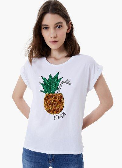 Women T-Shirts - Tops Pineapple White Cotton LIU JO