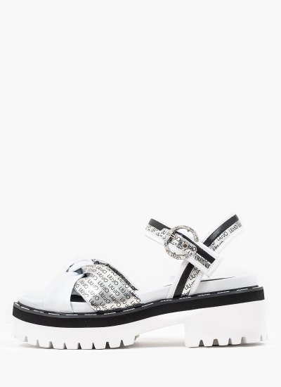 Women Sandals Low Pink.Summer.8 White Eco-Leather LIU JO