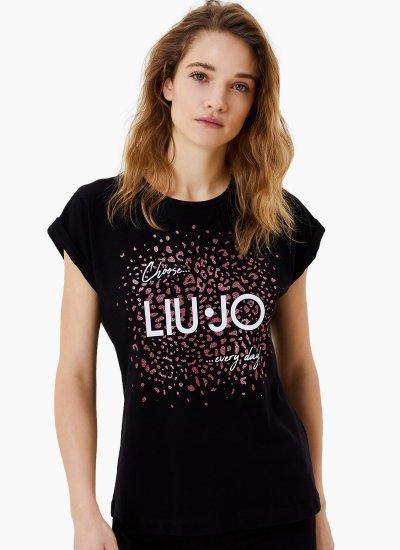 Women T-Shirts - Tops WA1327 Black Cotton LIU JO