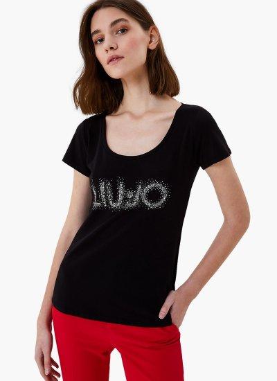 Women T-Shirts - Tops WA1J15 Black Cotton LIU JO
