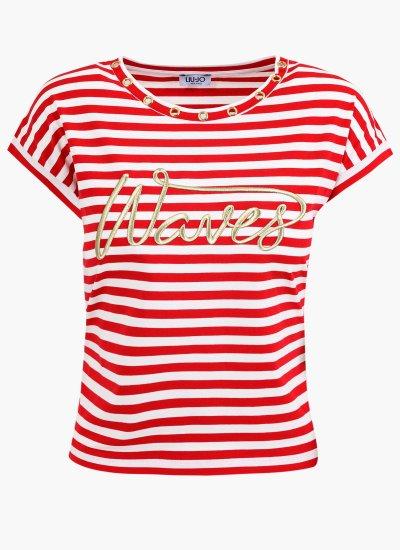 Women T-Shirts - Tops WA1j55 Red Cotton LIU JO