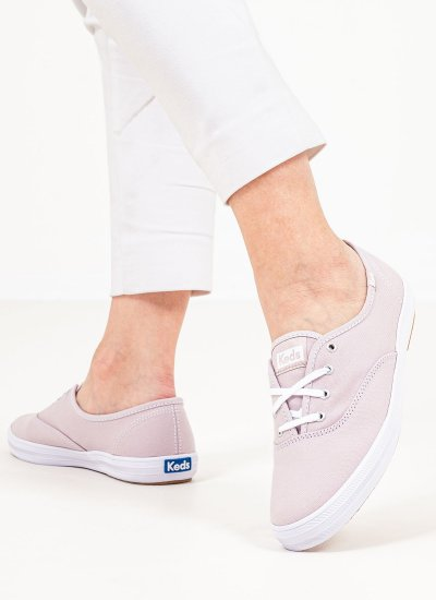 Women Casual Shoes WF64471 Pink Fabric Keds
