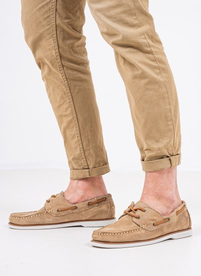 Men Sailing shoes Navigator Beige Suede Leather Lumberjack
