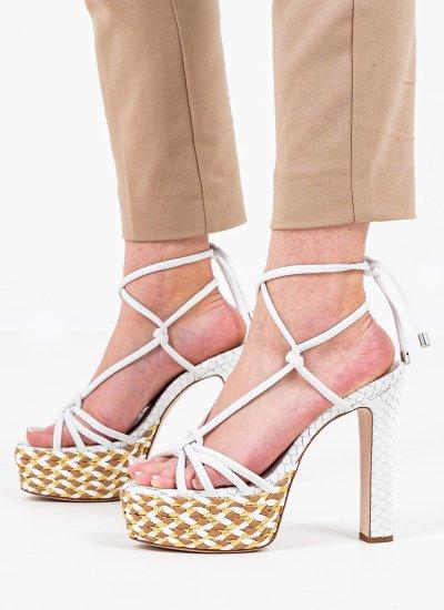 Women Sandal High S21086.0012 White Leather Schutz