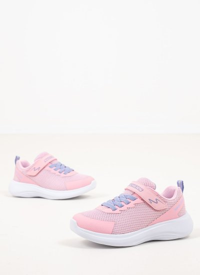 Kids Casual Shoes Jammin Pink Eco-Leather Skechers