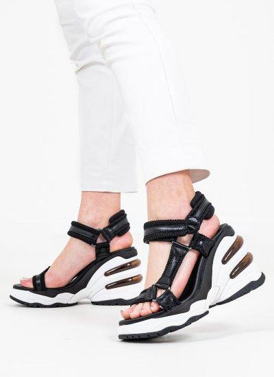 Women Platforms High Caress Black Leather Ash