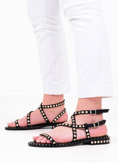 Women Flat Sandals Petra Black Leather Ash