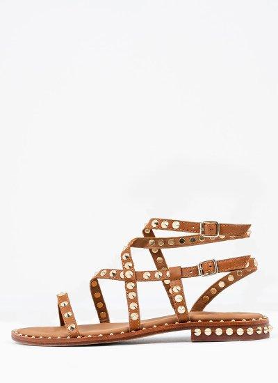 Women Flat Sandals Petra Tabba Leather Ash