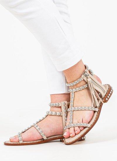 Women Flat Sandals Power Beige Leather Ash