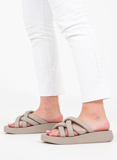 Women Sandals Low Vanessa Taupe Leather Ash