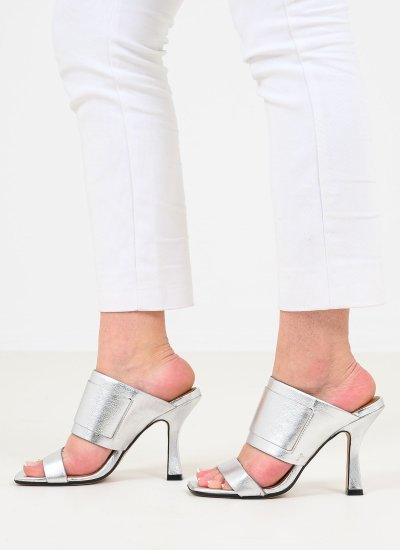 Women Mules Zania.Strip Silver Leather Carmens