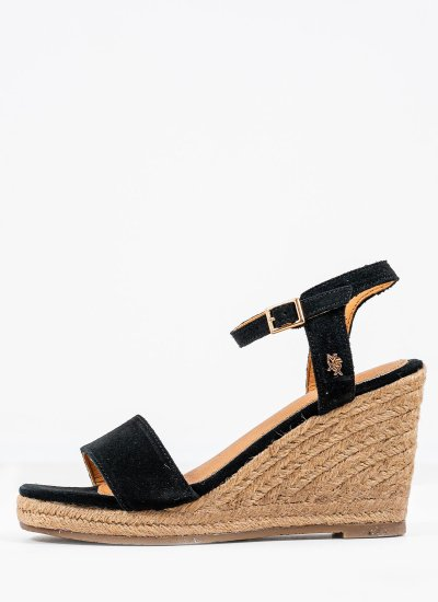 Women Platforms High Estelle Black Suede Leather Mexx